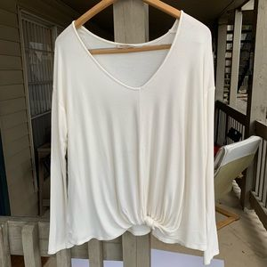 Bordeaux White Tie Front Long Sleeve Top Small